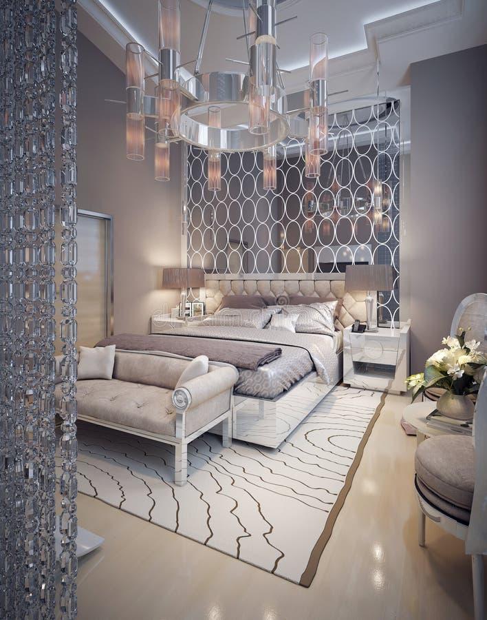 一个豪华现代样式的卧室 向量例证
