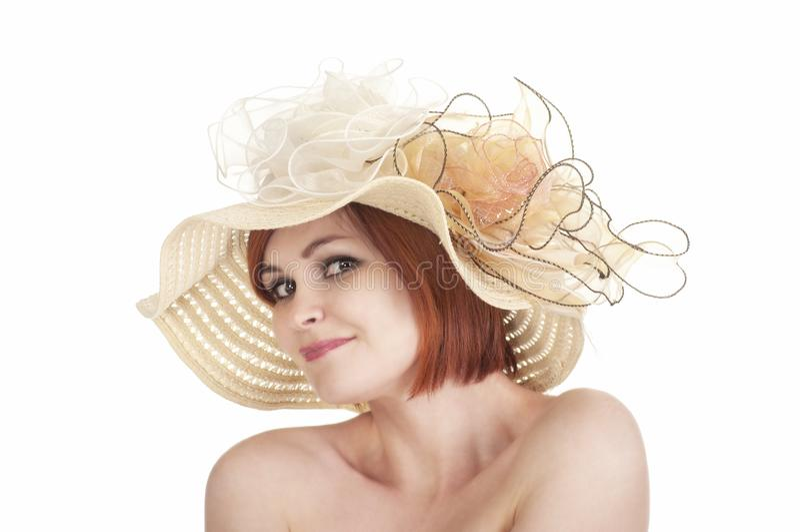 一个赤裸女孩和帽子的情感画象在白色背景 图库摄影