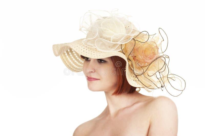 一个赤裸女孩和帽子的情感画象在白色背景 库存图片