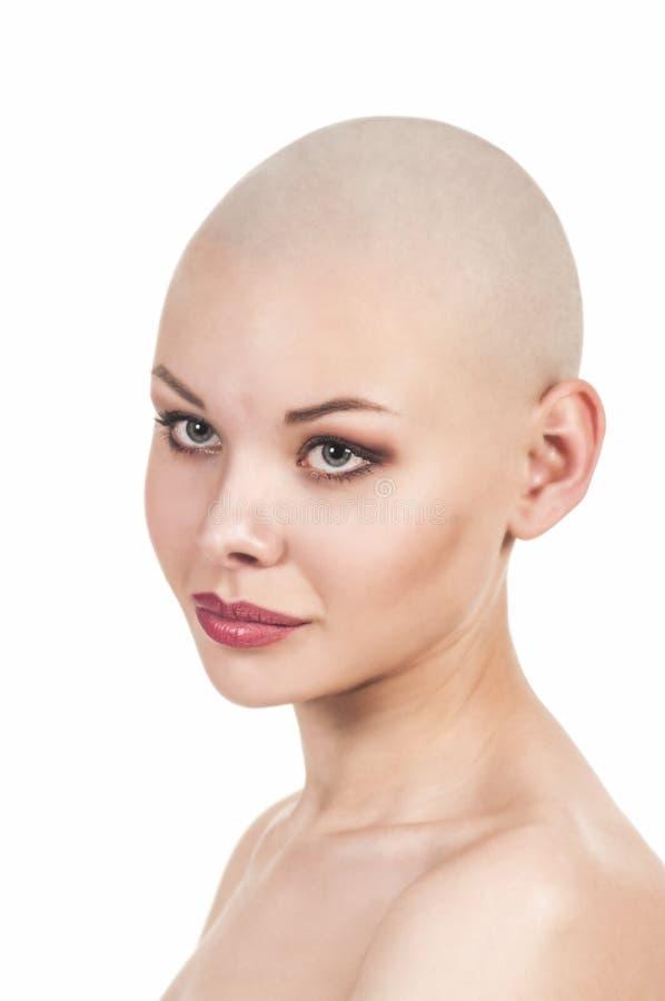 一个赤裸女孩的情感画象刮了秃头 库存照片