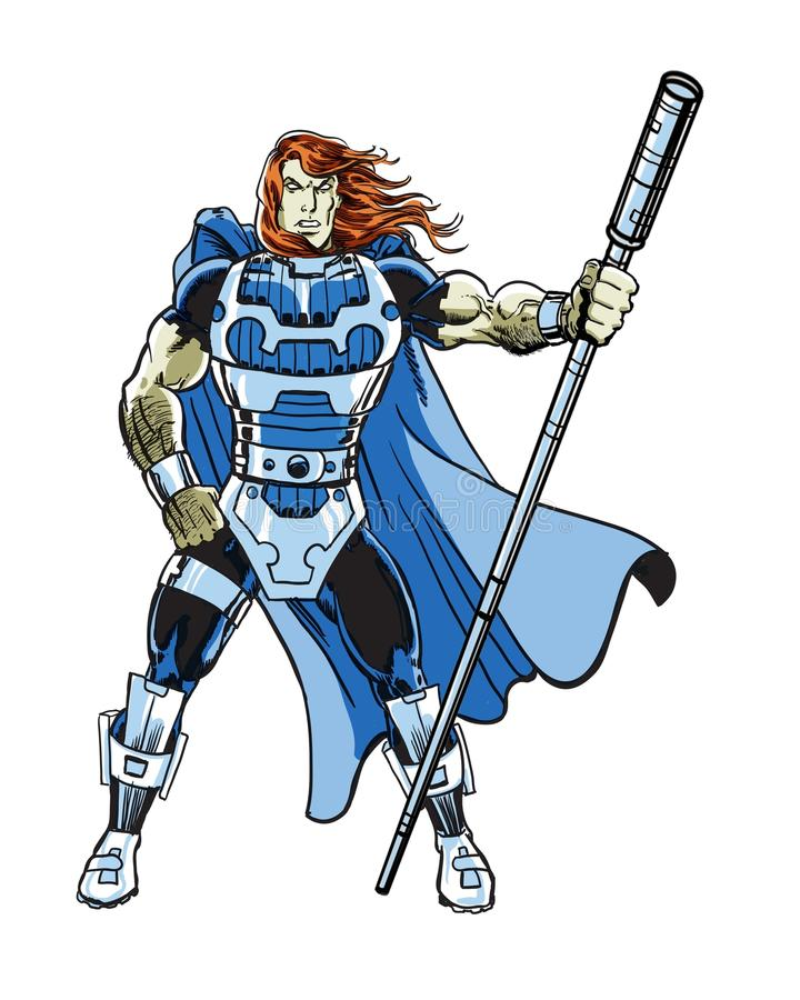 一个超级供给动力的宇宙漫画书英雄字符 皇族释放例证