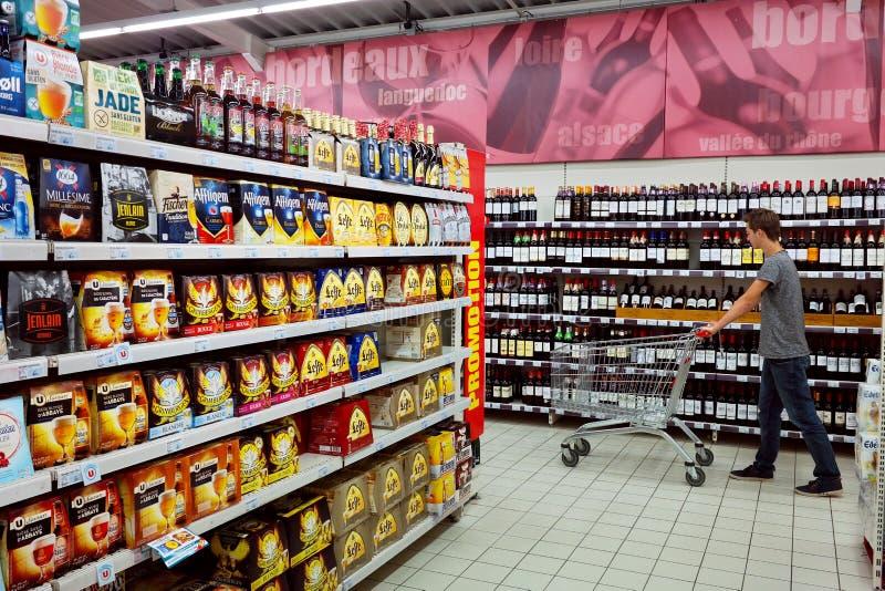 一个超级U超级市场的内部 免版税图库摄影