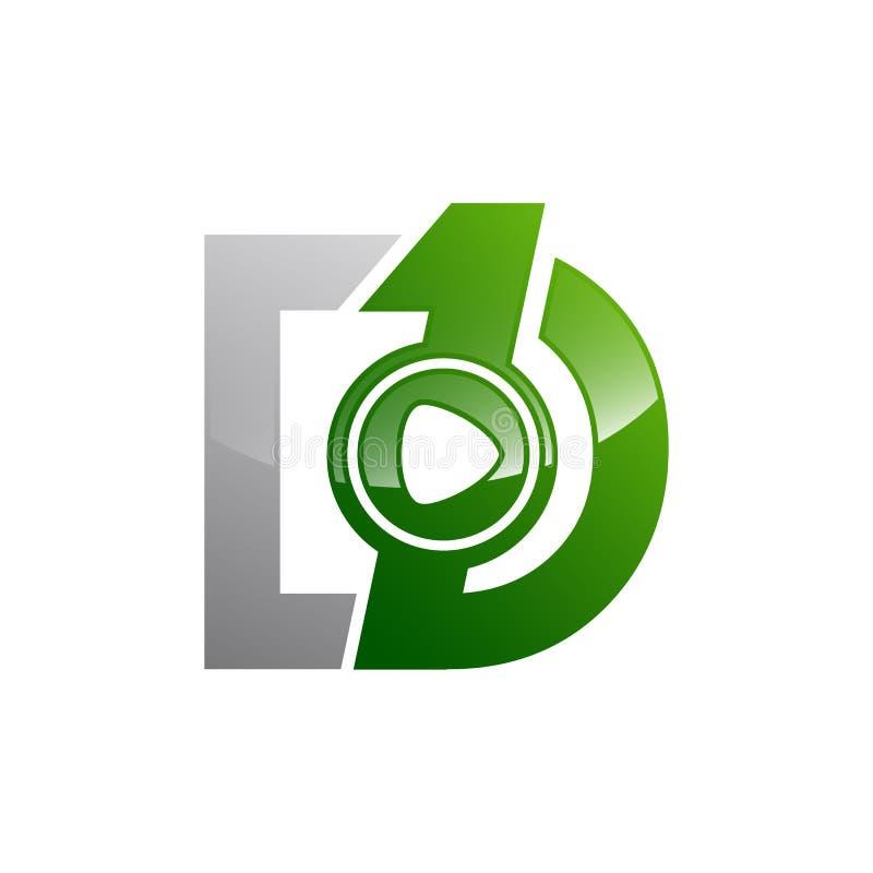 一个距离最初1和D商标模板 库存例证