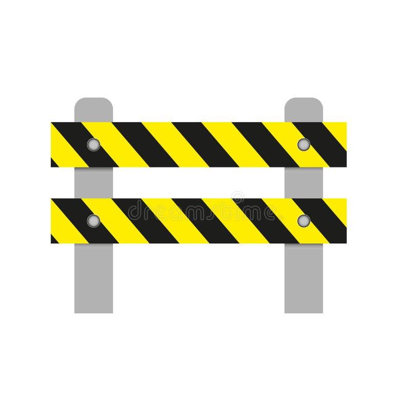 一个路障碍的现实图象与黄色条纹的在白色背景 被隔绝的对象,公路安全标志 向量Illustratio 皇族释放例证