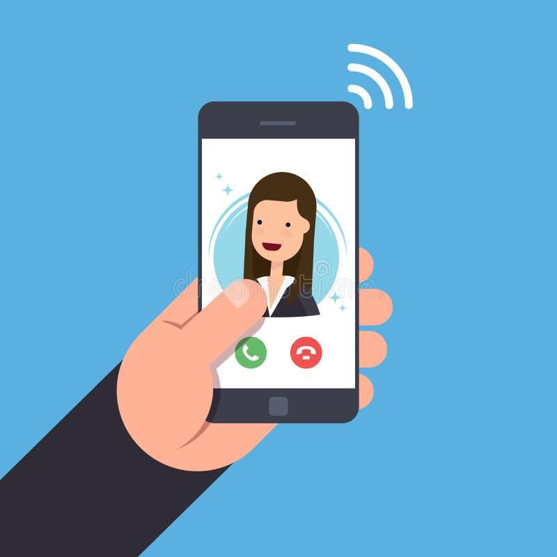 一个进来电话的概念在一个手机的 在智能手机的女实业家或经理电话 接受或拒绝 皇族释放例证