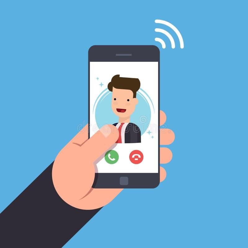 一个进来电话的概念在一个手机的 库存例证
