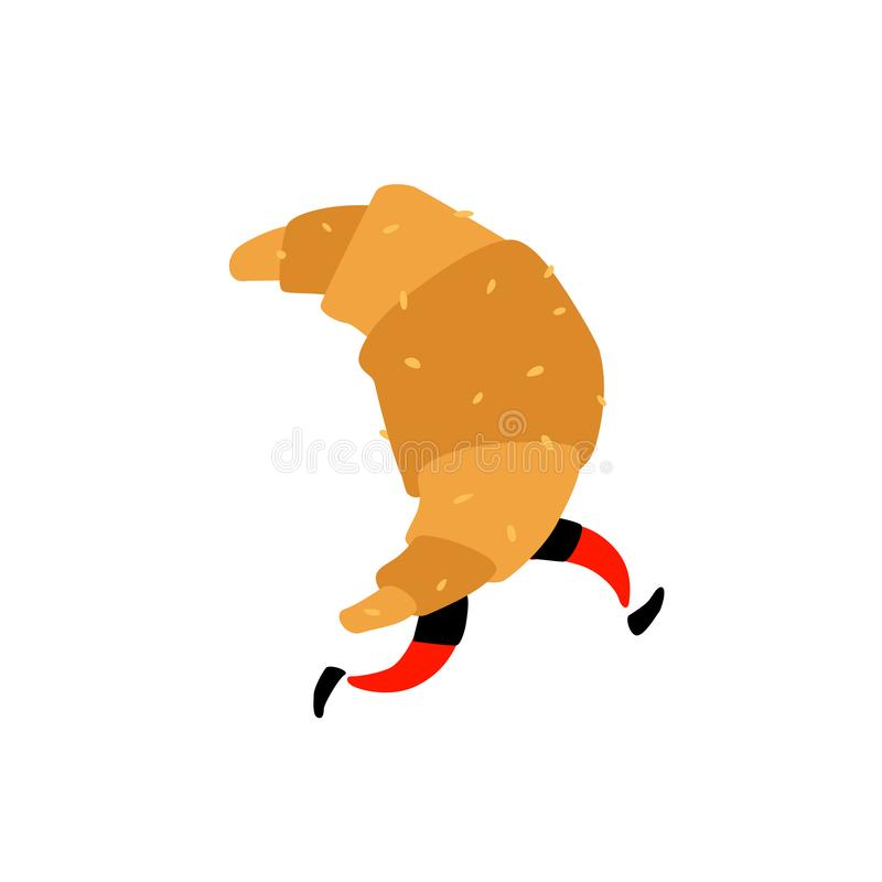 一个连续新月形面包的例证 ?? 与腿的甜字符 站点的象白色背景的 标志,stor的商标 库存例证