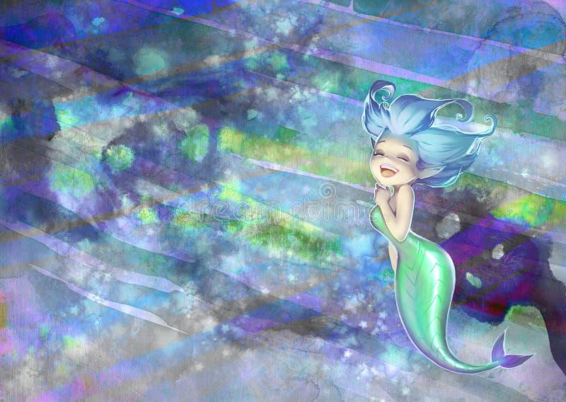 一个逗人喜爱和美丽的动画片美人鱼的幻想手拉的例证 库存例证