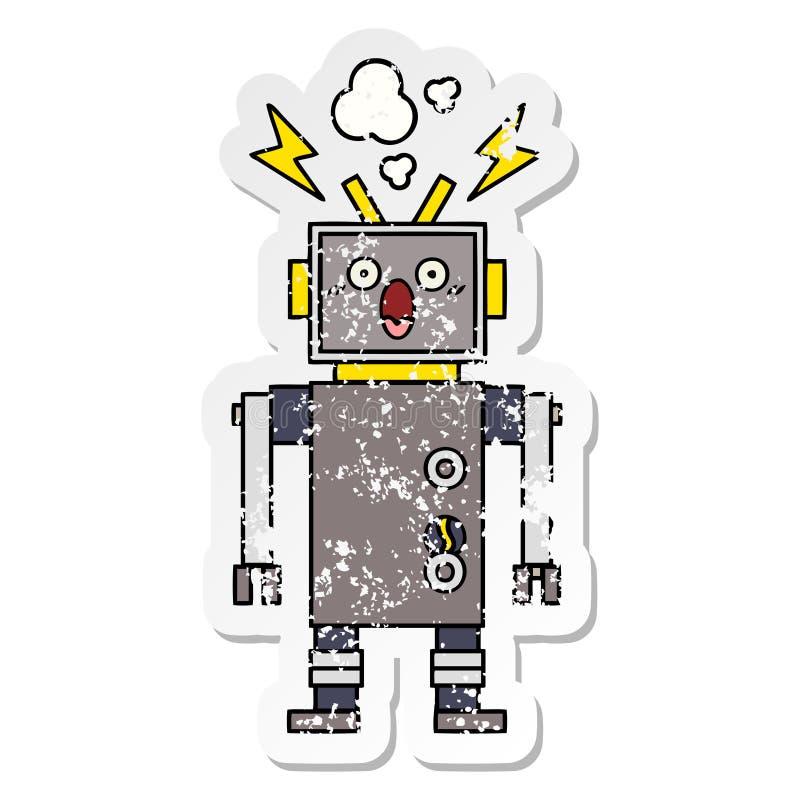 一个逗人喜爱的动画片发生故障的机器人的困厄的贴纸 库存例证