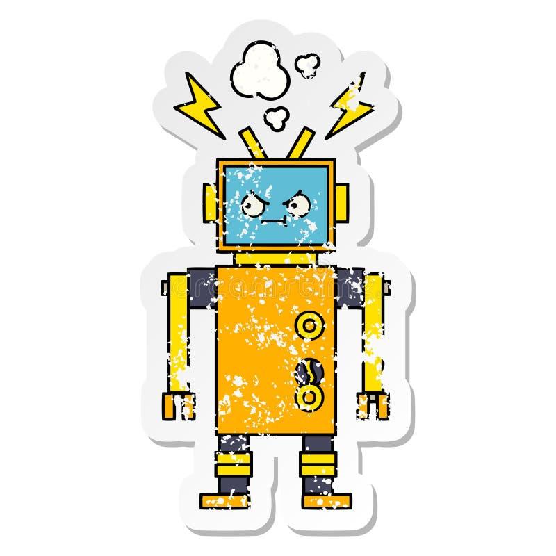 一个逗人喜爱的动画片发生故障的机器人的困厄的贴纸 向量例证