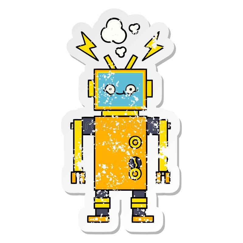 一个逗人喜爱的动画片发生故障的机器人的困厄的贴纸 皇族释放例证
