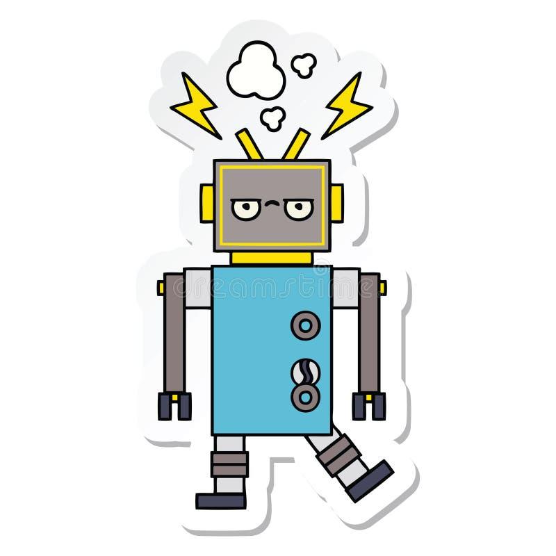 一个逗人喜爱的动画片发生故障的机器人的贴纸 皇族释放例证