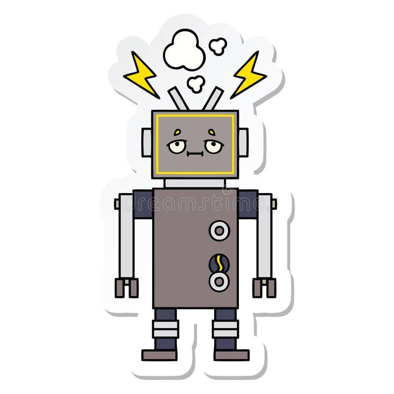 一个逗人喜爱的动画片发生故障的机器人的贴纸 向量例证