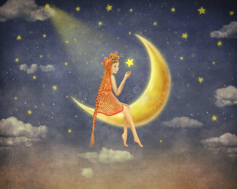 一个逗人喜爱的女孩的例证坐在夜空的月亮 皇族释放例证