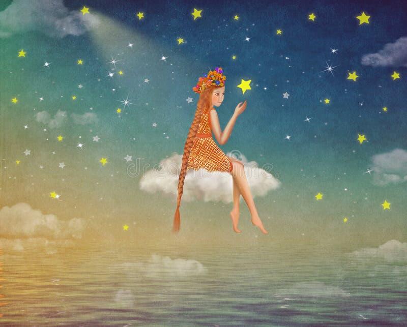 一个逗人喜爱的女孩的例证坐在夜空的月亮 向量例证