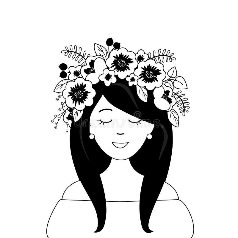 一个逗人喜爱的女孩的画象一个装饰花卉花圈的在她的头 库存例证