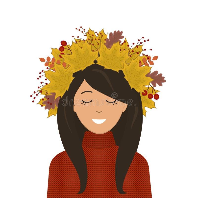 一个逗人喜爱的女孩的画象秋叶花圈的在她的头的 向量例证