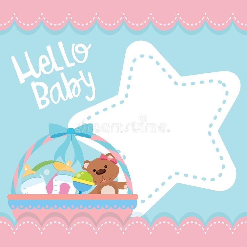 一个逗人喜爱的婴儿送礼会集合 向量例证