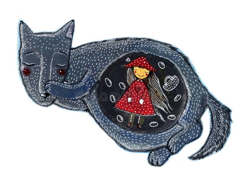 一个逗人喜爱的小女孩和狼 红色骑马兜帽童话 免版税库存图片