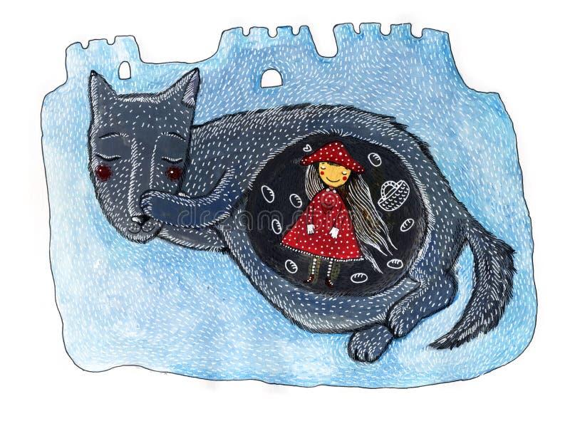 一个逗人喜爱的小女孩和狼 红色骑马兜帽童话 库存例证