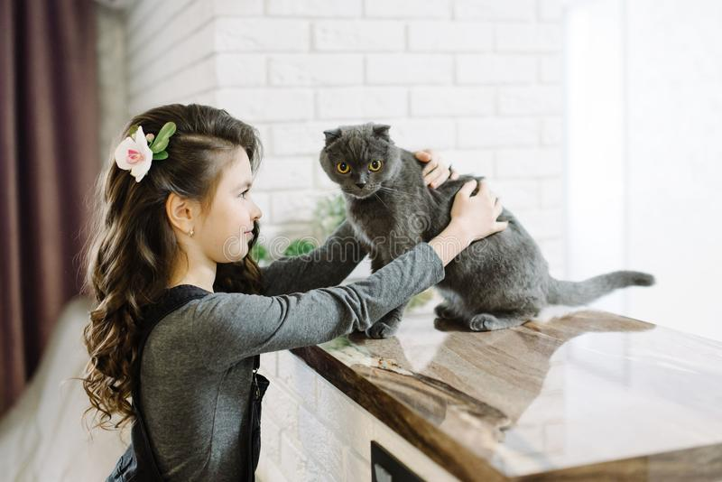 一个逗人喜爱的小女孩花费她的与她的甜猫的时间 库存图片