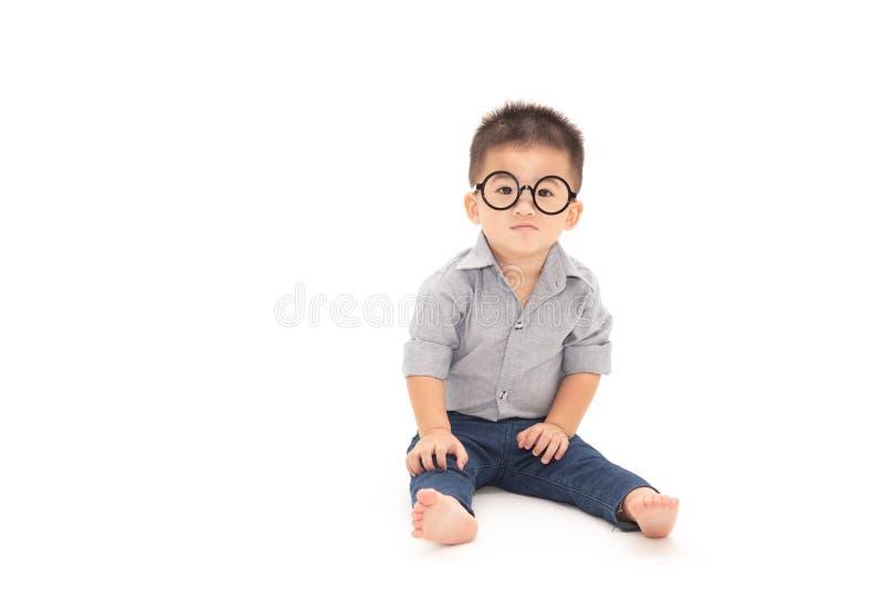 一个逗人喜爱的小男孩戴着眼镜的画象 免版税库存照片