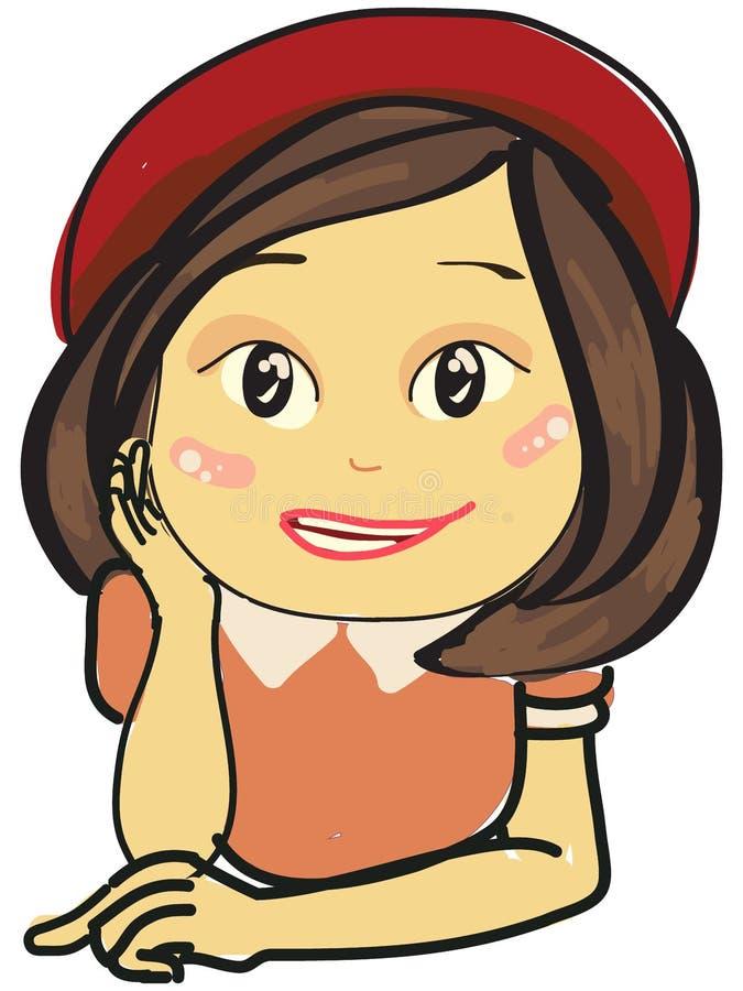 一个逗人喜爱的微笑的女孩的被隔绝的例证有红色帽子和桃红色礼服的 免版税图库摄影
