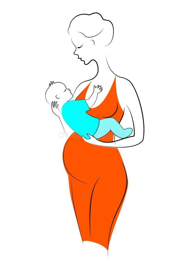 一个逗人喜爱的怀孕的夫人的剪影 妇女拿着她的胳膊的一个小男孩 愉快的母爱她的孩子 ?? 皇族释放例证