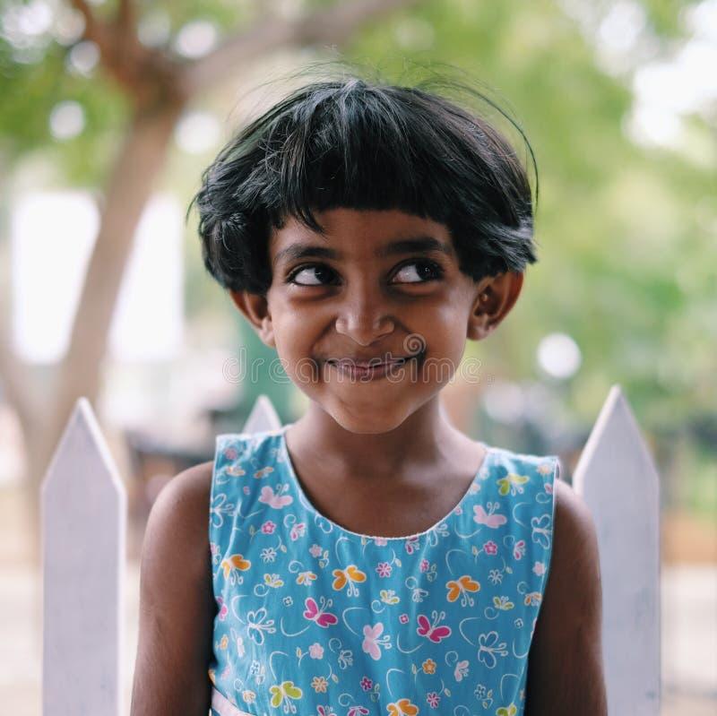 一个逗人喜爱的斯里兰卡的女孩 库存照片
