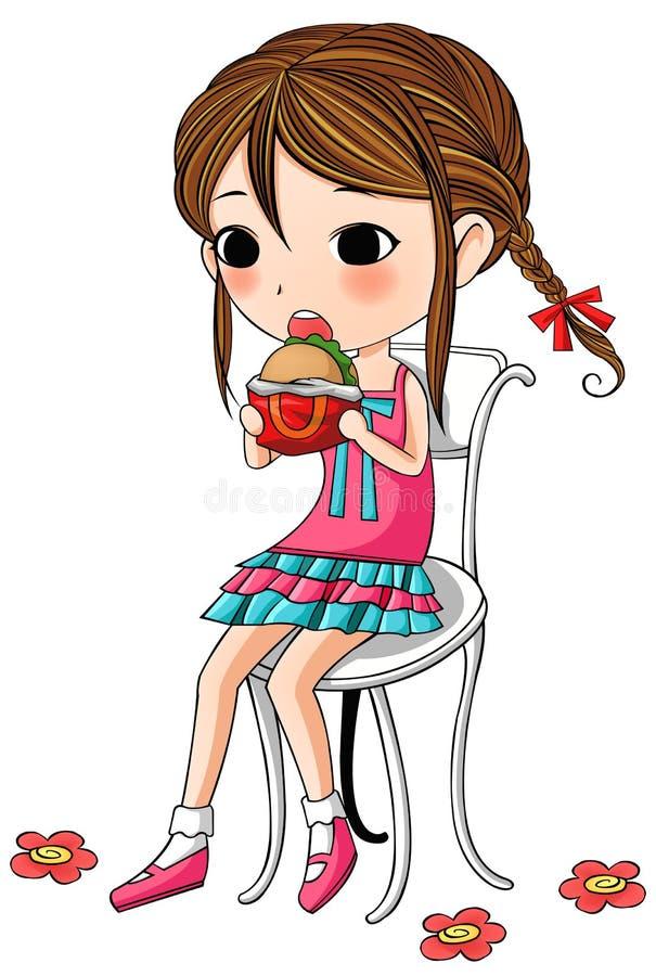 一个逗人喜爱的时髦的动画片女孩吃着汉堡包 库存例证