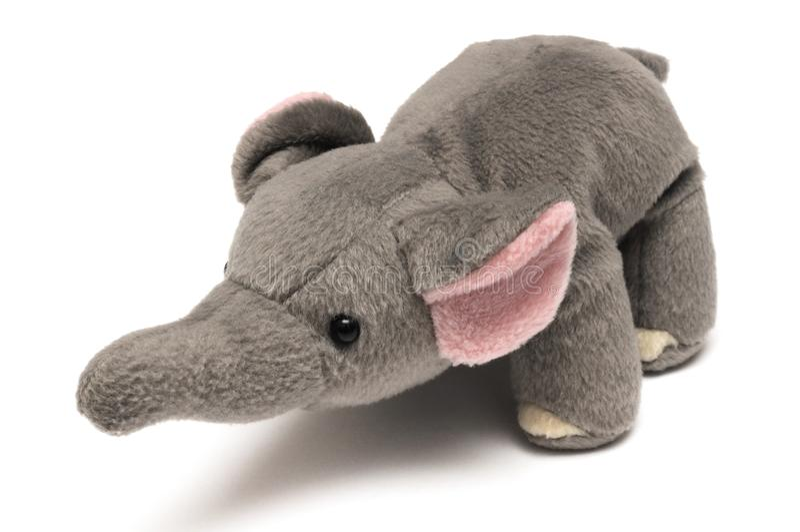 一个逗人喜爱的深灰大象软的玩具 库存图片