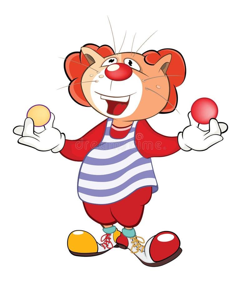 一个逗人喜爱的猫小丑变戏法者的例证 背景漫画人物厚颜无耻的逗人喜爱的狗愉快的题头查出微笑白色 皇族释放例证