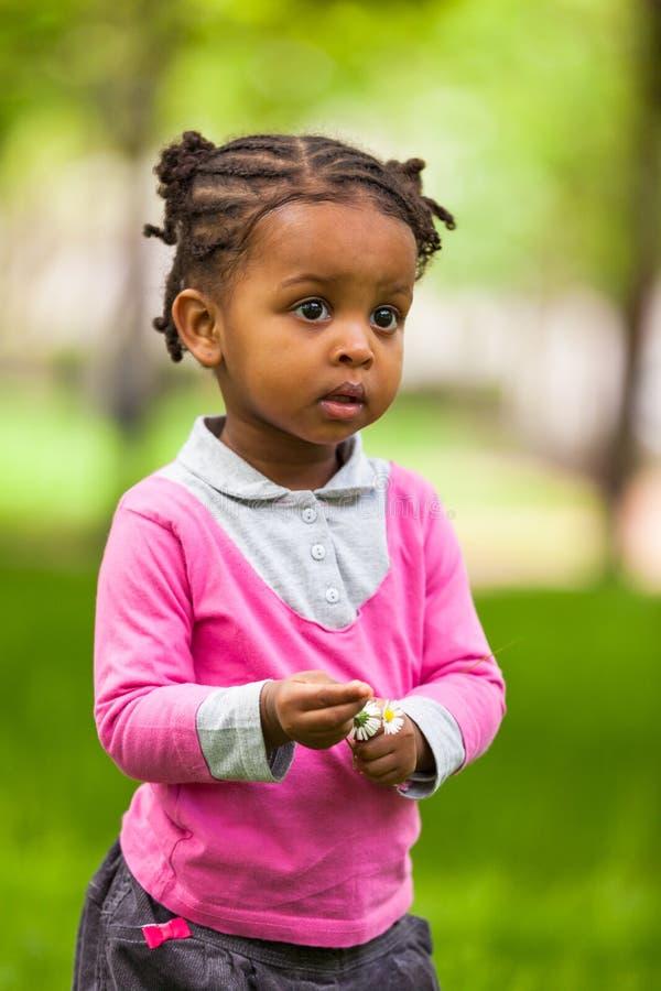 一个逗人喜爱的矮小的年轻黑人女孩的画象的室外关闭 库存照片