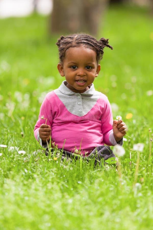 一个逗人喜爱的矮小的年轻黑人女孩的画象- Af的室外关闭 库存照片
