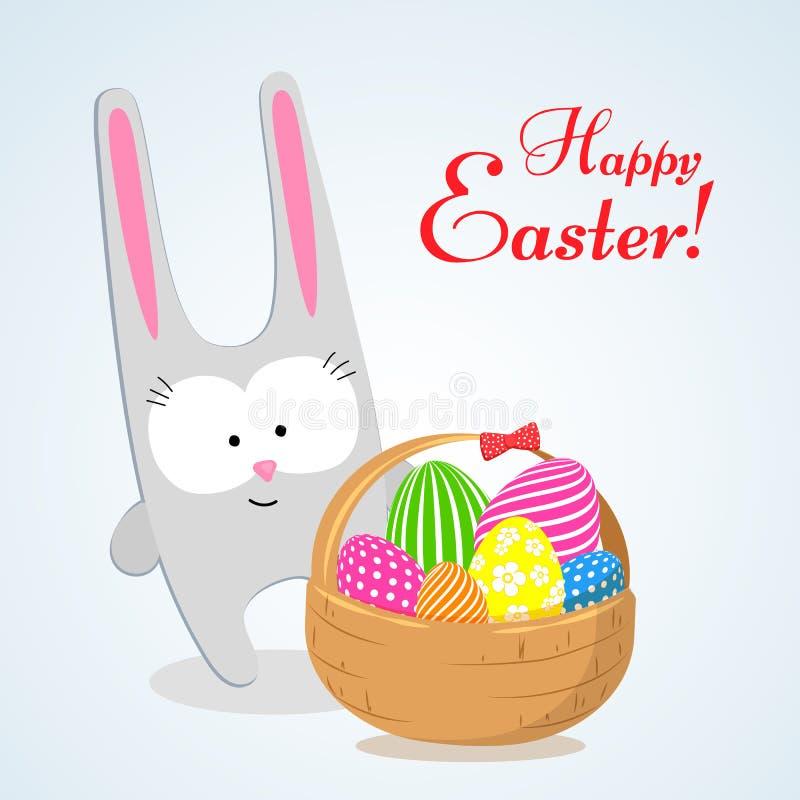 一个逗人喜爱的野兔一个兔子兔宝宝和一个篮子用明亮的复活节彩蛋复活节装饰设计元素宴餐的标志  皇族释放例证