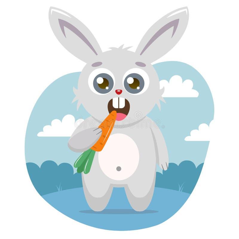 一个逗人喜爱的野兔拿着在它的爪子的一棵红萝卜并且吃 向量例证