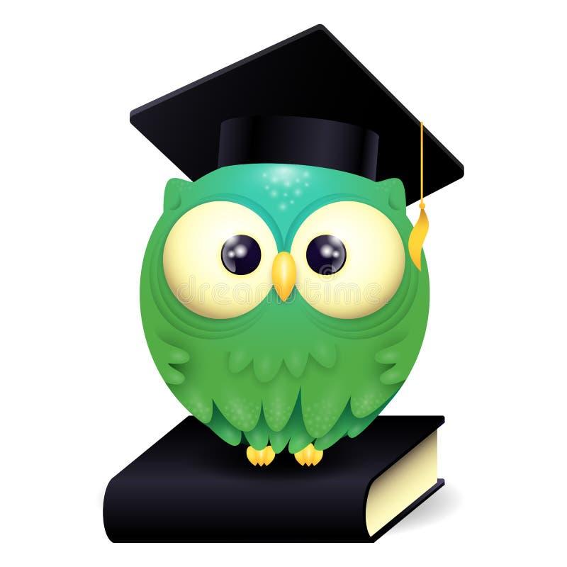 一个逗人喜爱的lillte猫头鹰佩带的毕业盖帽和的传染媒介例证坐一本黑名册 库存例证