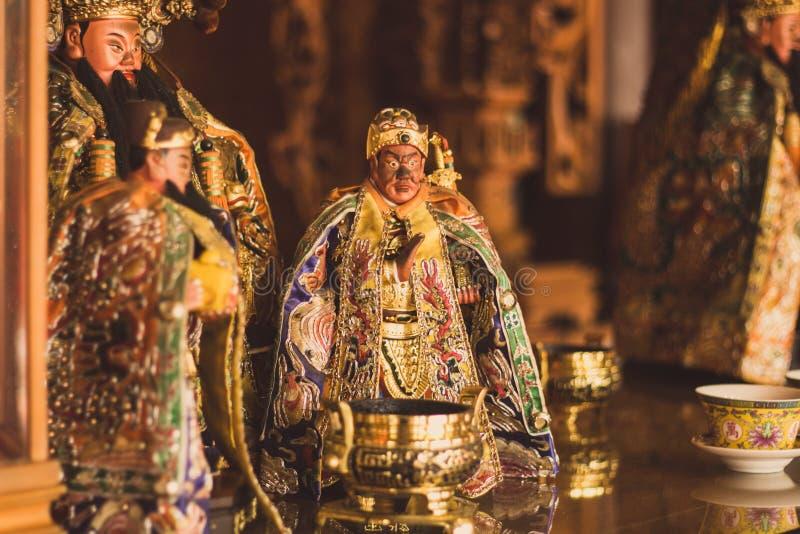 一个道士女神的一个小雕象一个寺庙的在亚洲 北京瓷 库存图片
