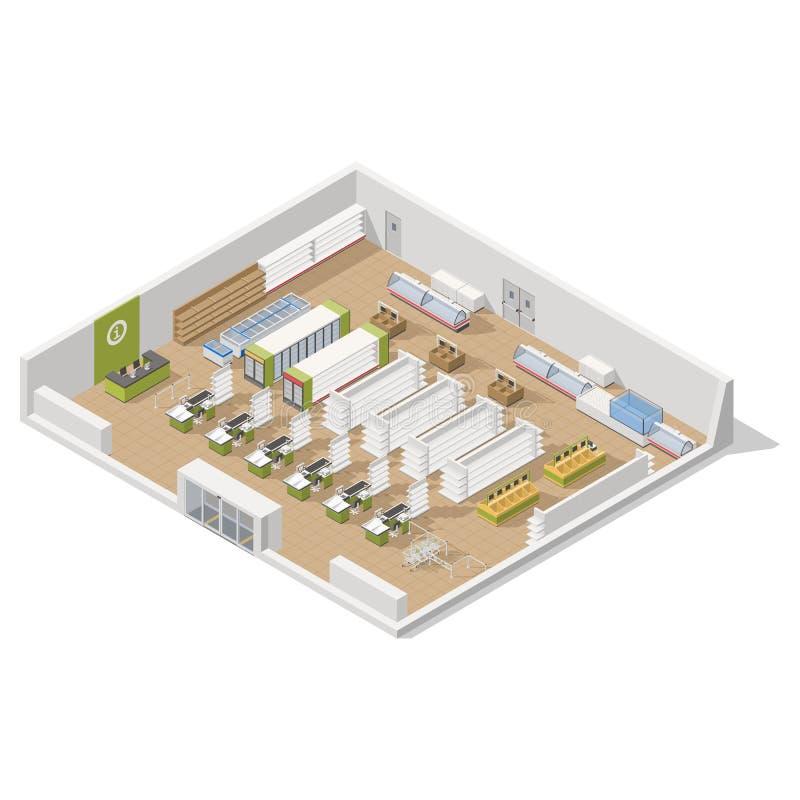 一个部分的杂货超级市场在一个等量象集合里面 库存例证