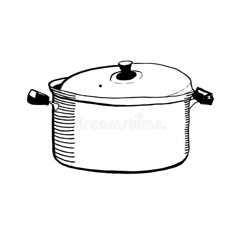 一个闭合的砂锅或平底锅的手拉的剪影烹调的传染媒介例证 库存照片