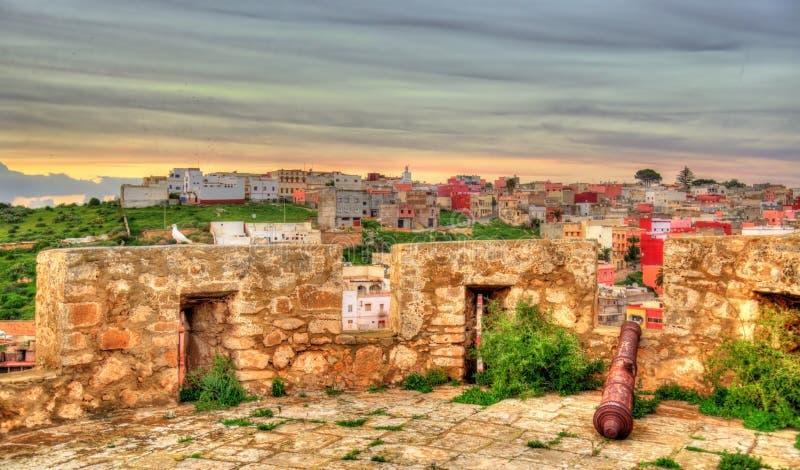 从一个防御塔的看法在萨菲,摩洛哥 免版税库存图片