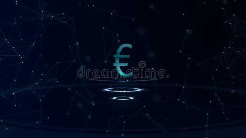 一个雄伟3d欧元标志 与互联网连接的空间蓝色网际空间背景 欧元货币在三真正 皇族释放例证