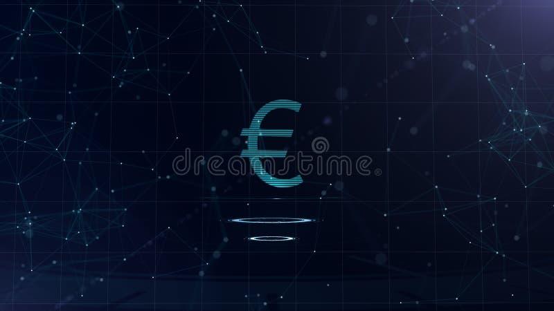 一个雄伟3d欧元标志 与互联网连接的空间蓝色网际空间背景 欧元货币在两真正发光 向量例证