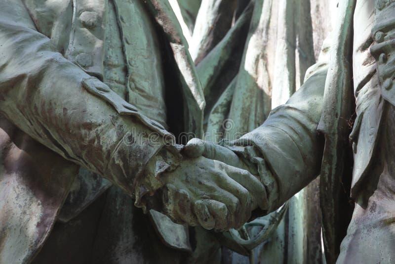 一个雕象Auguste Bartholdi、方形的des États-Unis,荣誉法国军官候爵拉斐特和第一位总统  库存图片
