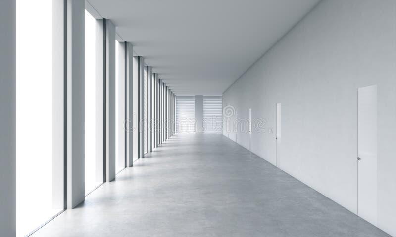 一个露天场所办公室的空的现代明亮的干净的内部 与白色拷贝空间和白色墙壁的巨大的全景窗口 库存例证