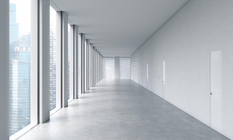 一个露天场所办公室的空的现代明亮的干净的内部 巨大的全景窗口有新加坡视图 向量例证