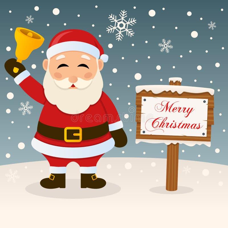 一个非常圣诞快乐标志-圣诞老人 库存例证