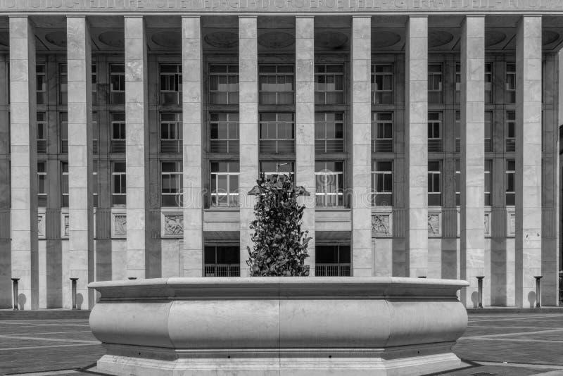 一个非常大大厦的对称黑白图象 库存照片