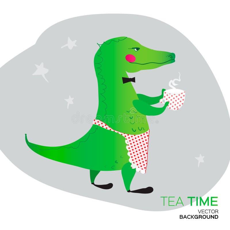 给一个非常好茶会的绿色鳄鱼 T 皇族释放例证