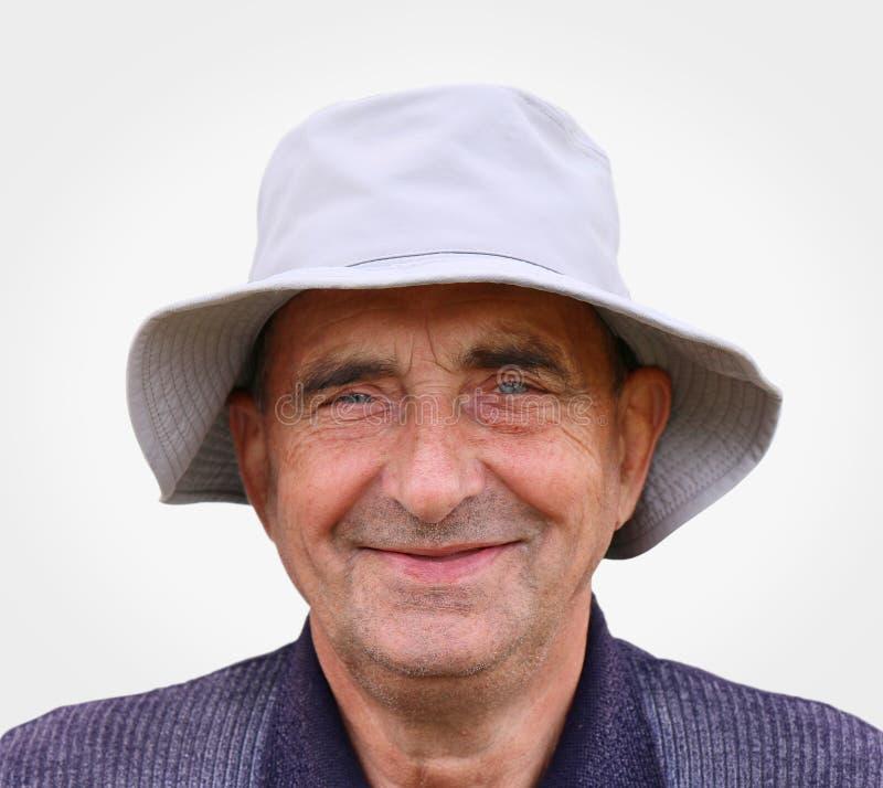一个非常愉快的年迈的人的特写镜头画象 免版税图库摄影
